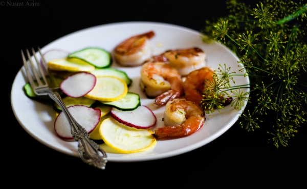 Shrimp veggies dill